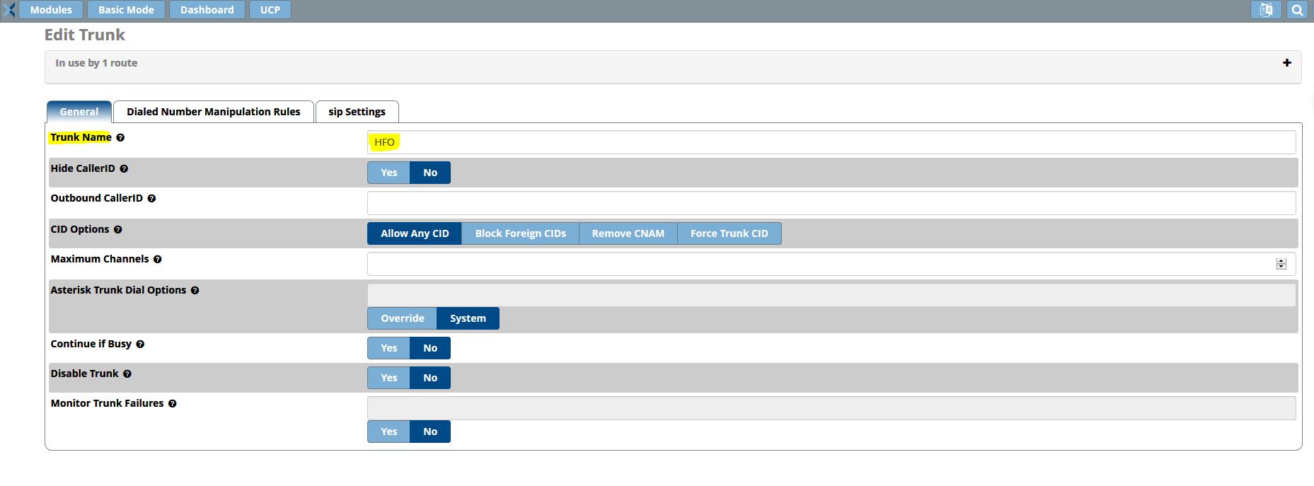 Setup HFO Telecom SIP Trunk - PBX GUI - Documentation