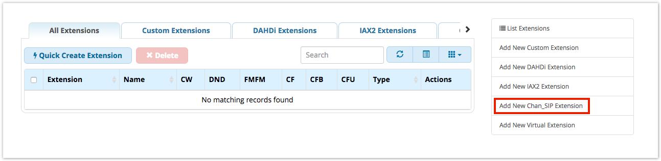 Extensions Module - SIP Extension - PBX GUI - Documentation