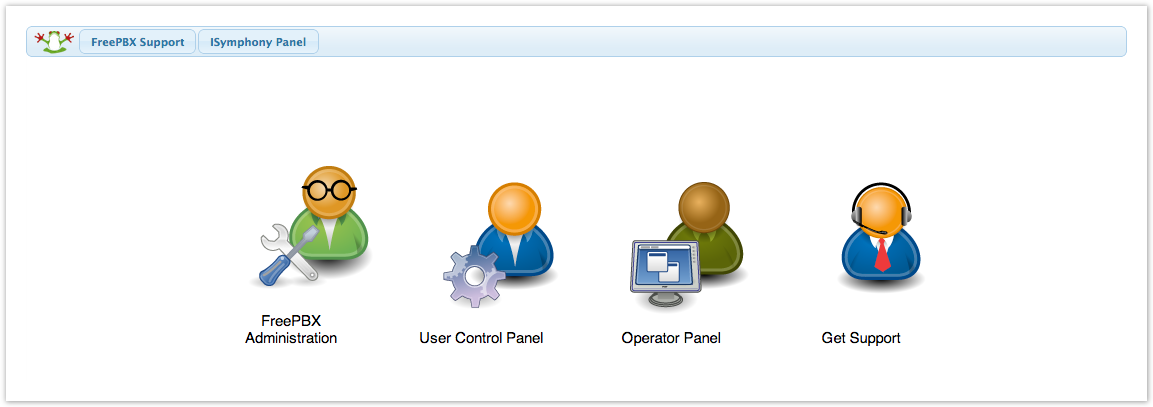 On the main landing page select the PBX Administration tab to log into  FreePBX